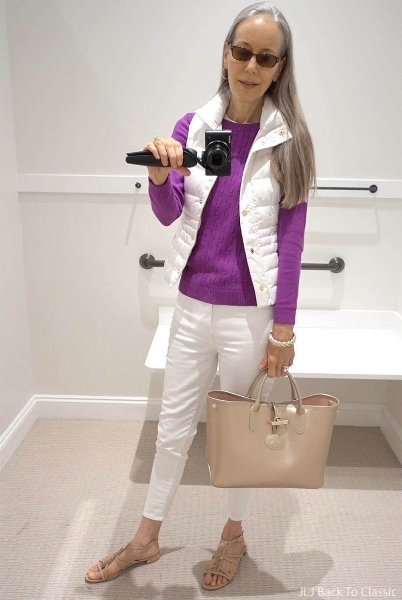 berry-sweater-white-puffer-vest-longchamp-gold-tote-white-jeans-timeless-style