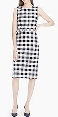 j.crew-navy-and-ivory-belted-gingham-bi-stretch-sheath-dress