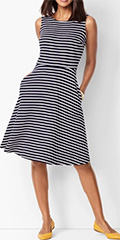 talbots-indigo-blue-and-white-fit-and-flare-dress-stripe