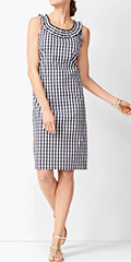 talbots-indigo-blue-and-white-pleat-neck-sheath-dress-gingham