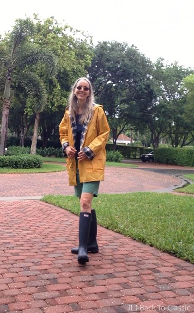 Navy-Blue-Hunter-Tall-Rain-Boots-Yellow-Rain-Slicker-Bermuda-Shorts
