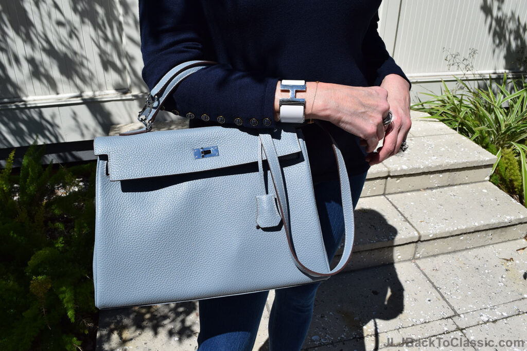 Hermes-Kelly-Bag-White-Clic-Clac-Enamel-H-Bracelet-J-McLaughlin-Sweater