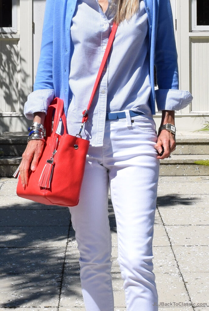 coral-crossbody-bag-blue-j-crew-cardigan-lands-end-oxford-white-jeans