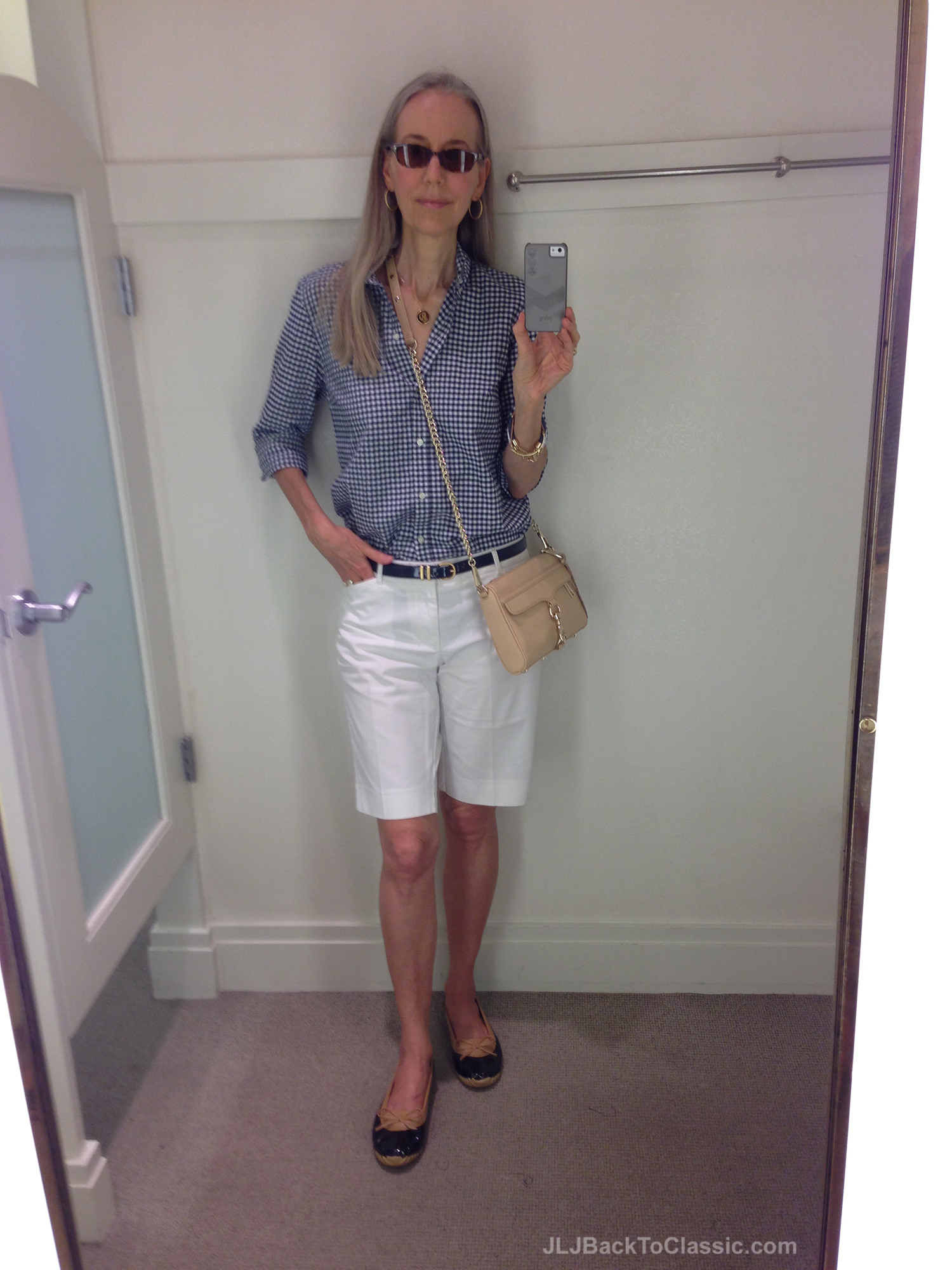 Fashion-Over4--50-Gingham-Button-Down-White-Shorts-Duck-Skimmers