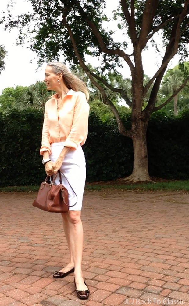 peach-linen-button-up-shirt-white-pencil-skirt-tortoise-patent-ballet-flats