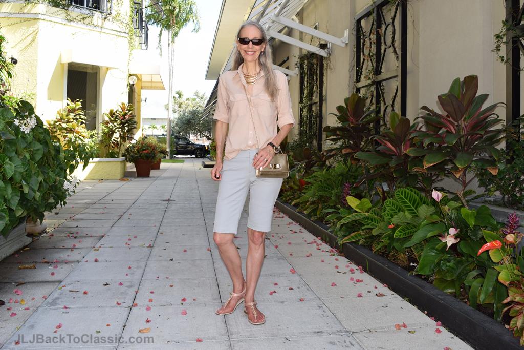 Slim-Fit-Walking-Shorts-Peach-Button-up-Shirt-Gold-Salvatore-Ferragamo-Bag