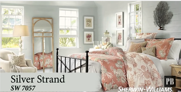 Blue-Gray-And-Coral-Bedroom-Sherwin-Williams-pottery-Barn