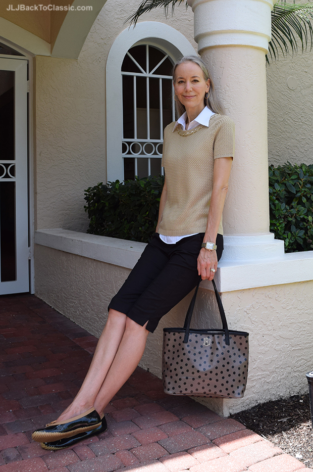 Brooks-Brothers-Sweater-And-Blouse-Ann-Taylor-Shorts-Lands-End-Bag