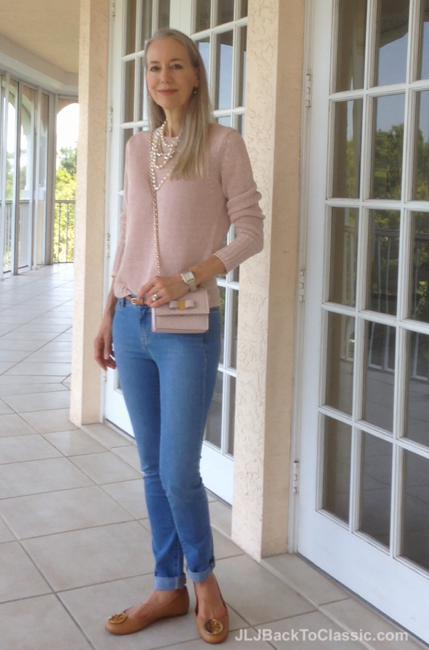 8d3d13b3f Video) Skinny Jeans Over 50  Yes–With A Pink Ann Taylor Sweater ...
