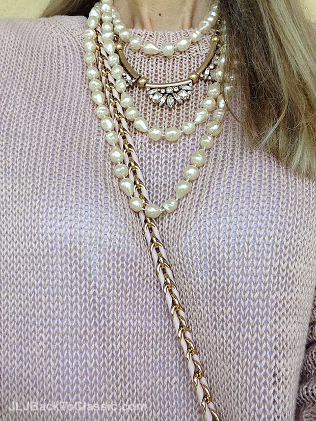 Pink-Ann-Taylor-Sweater-Banana-Republic-Glass-And-Bronze-Metal-Necklace