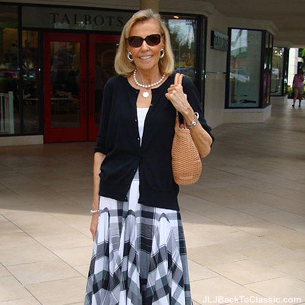 black-cardigan-black-and-white-plaid-maxi-skirt-brahmin-woven-leather-bag