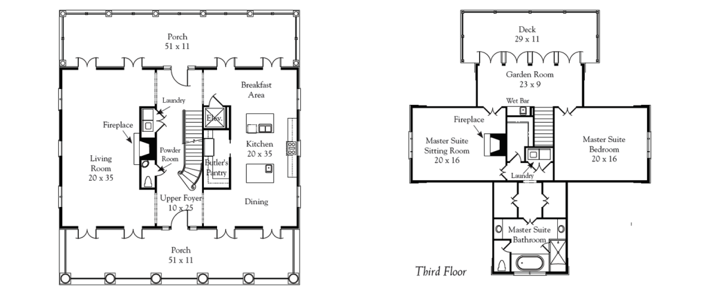 Kiawah-Isl-gold-course-Home-Plan-2nd-and-3rd-Floor