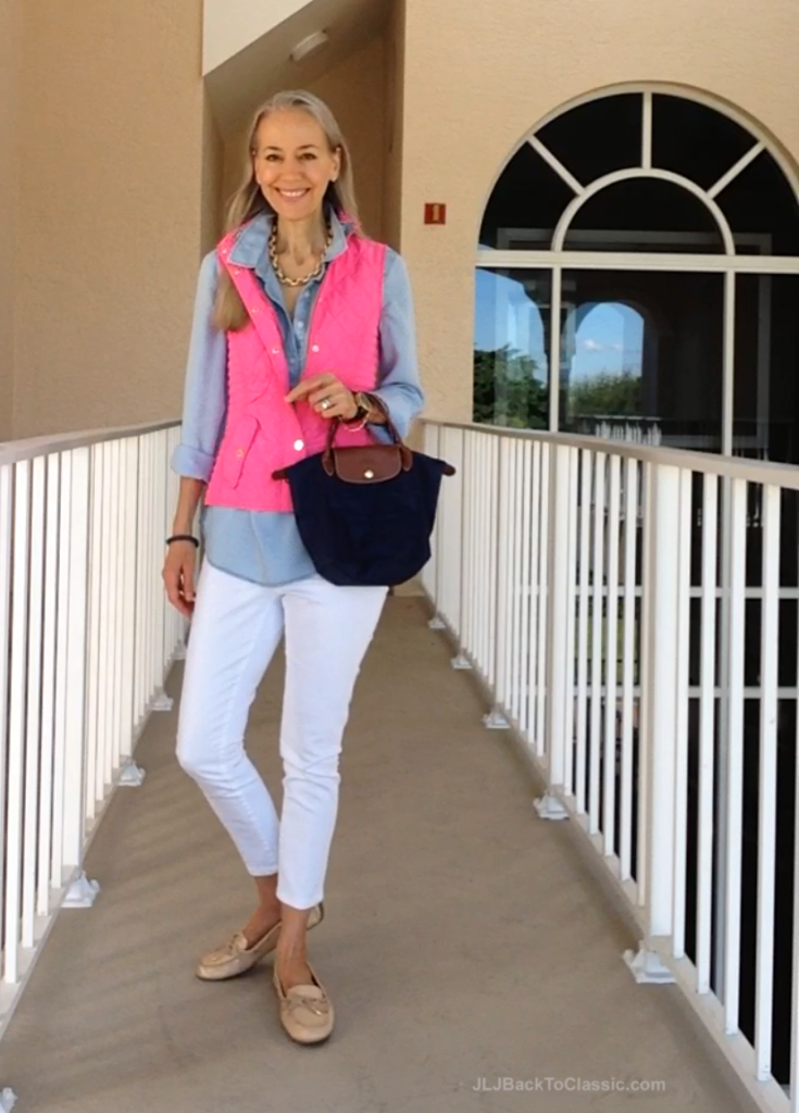 Fashion-Over-40-Lilly-Pulitzer-Vest-White-Skinny-Jeans-Longchamp-Tote