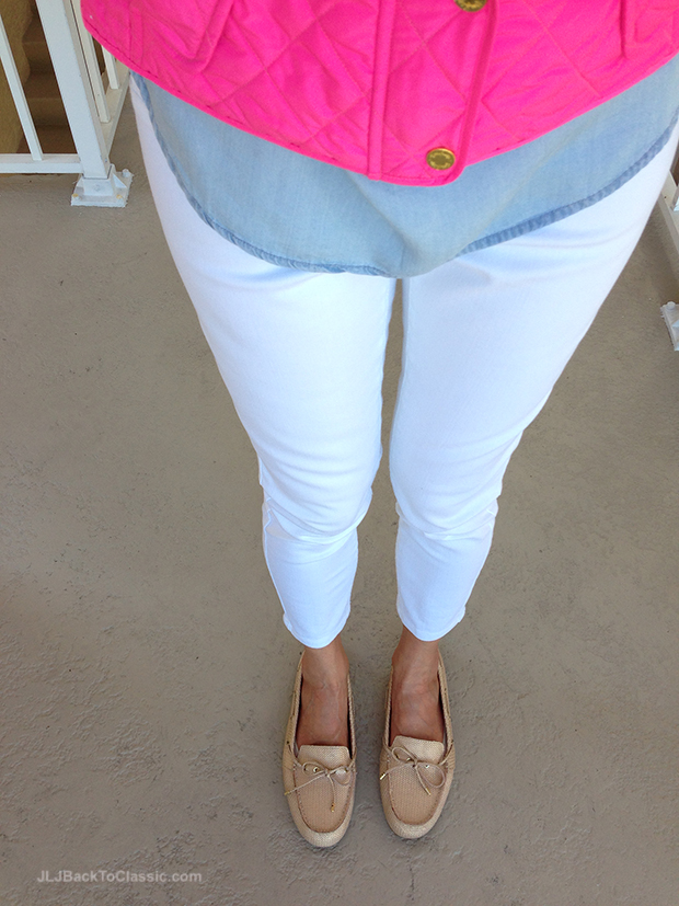 Gold-Talbots-Mocs-White-Skinny-Jeans-Pink-Lilly-Pulitzer-Vest