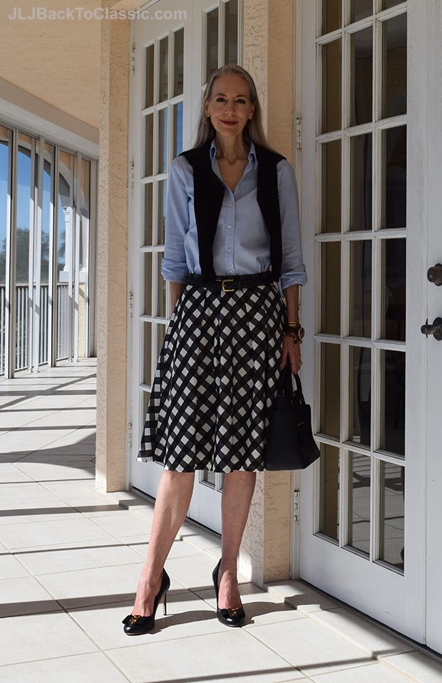 Janis-Lyn-Johnson-In-Talbots-Full-Skirt-Tory Burch-Frances-Satchel-And-Pumps