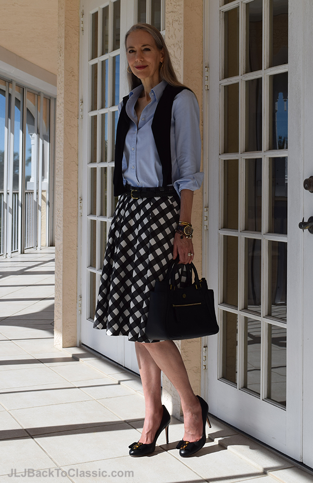 Janis-Lyn-Johnson-In-Talbots-Full-Skirt-Tory Burch-Frances-Satchel-And-Pumps2