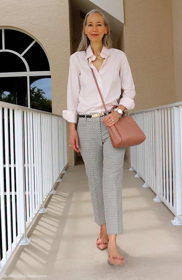 Fashion-Over-40-JCrew-Shirt-Ann-Taylor-Cropped-Jacquard-Pants-Crossbody-and-Bow-Flats