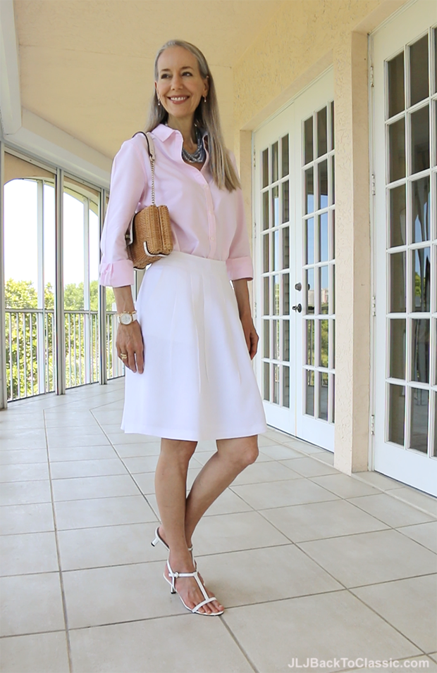 Classic-Preppy-Over-40-Brooks-Brothers-White-Linen-Skirt-Land's-End-Pink-Oxford-Cloth-Shirt-Kate-Spade-Bag