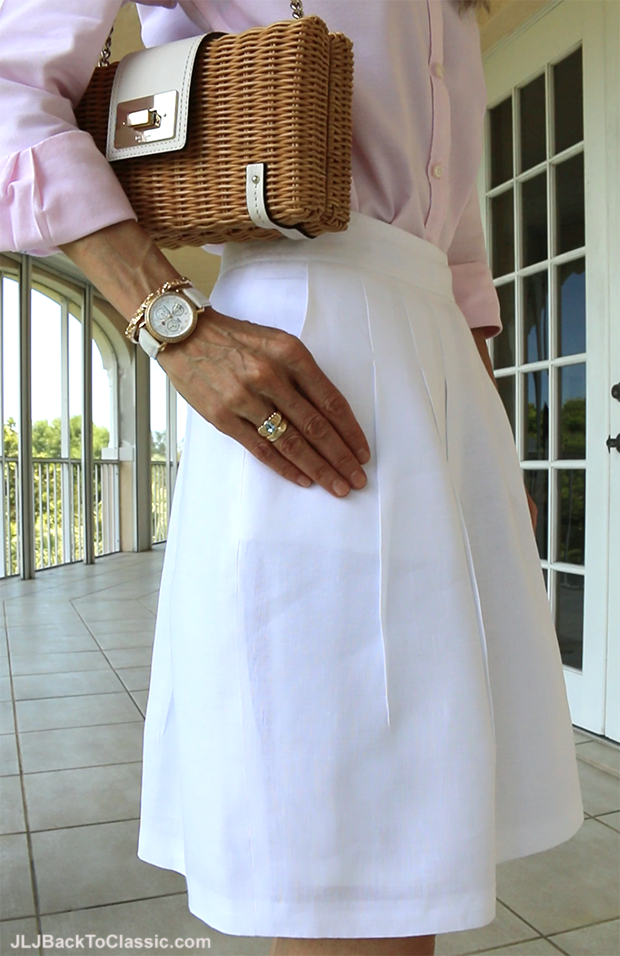 Classic-Preppy-Over-40-Michele-CSX-Watch-Kate-Spade-Bag-Brooks-Brothers-White-Linen-Skirt