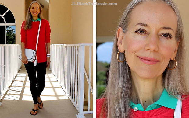 Fashion-Over-40-50-Talbots-Coral-Tunic-Kate-Spade-White-Orchard-Street-Blog