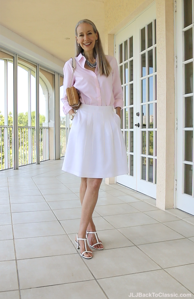 Fashion-Over-40-Brooks-Brothers-White-Linen-Skirt-With-Pink-Land's-End-Button-Up-JLJBackToClassic