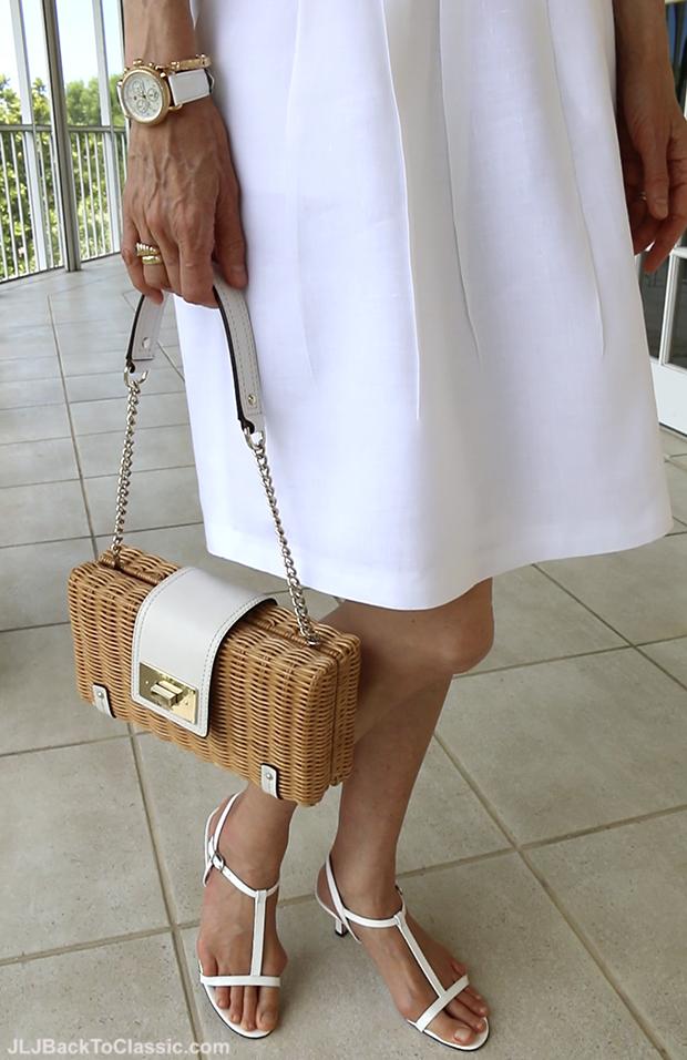 Fashion-Over-40-Kate-Spade-Straw-Bag-Michele-CSX-Watch-Brooks-Brothers-Skirt-Vaneli-White-Sandals