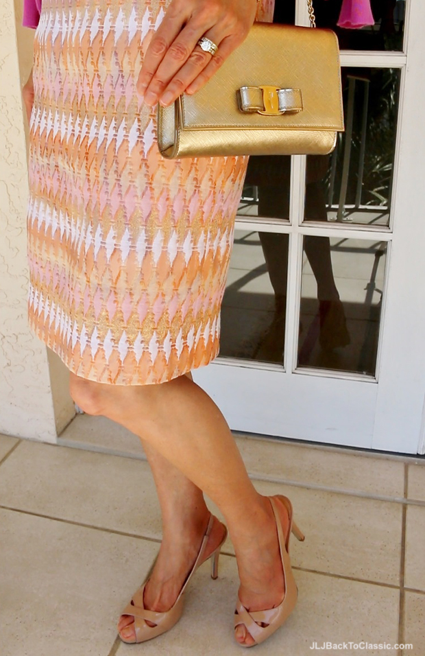 JCrew-Pink-Metallic-Pencil-Skirt-Guess-Pink-Slingback-Sandals-Gold-Salvatore-Ferragamo-Vara
