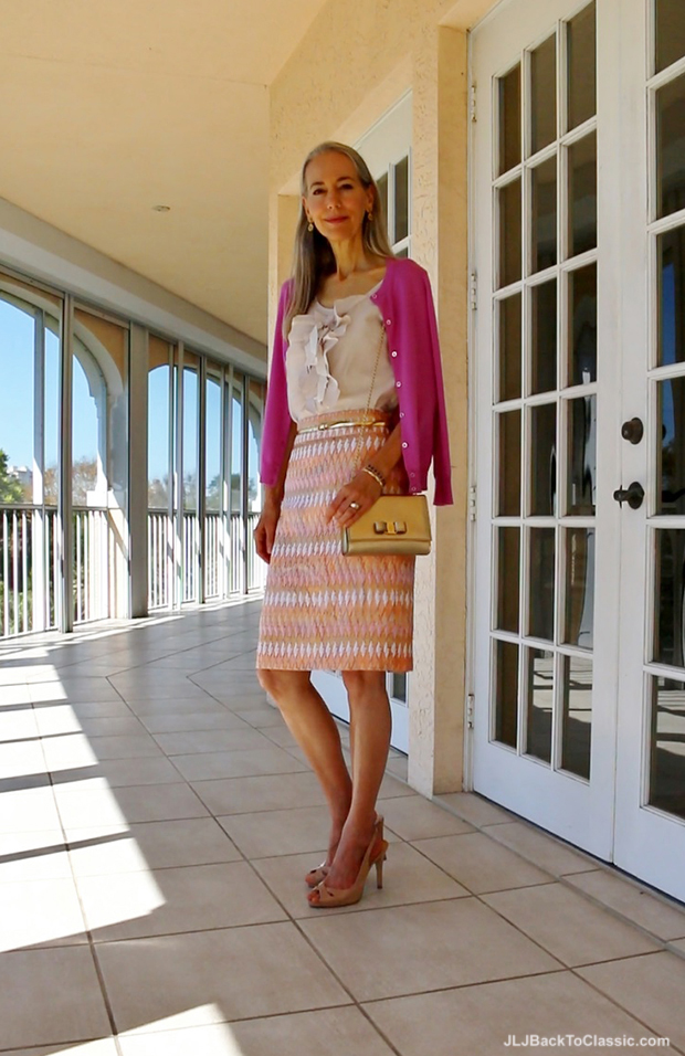 Janis-Lyn-Johnson-Classic-Fashion-Over-40-Over-50-JCrew-Cardigan-Skirt-Salvatore-Ferragamo-Vara