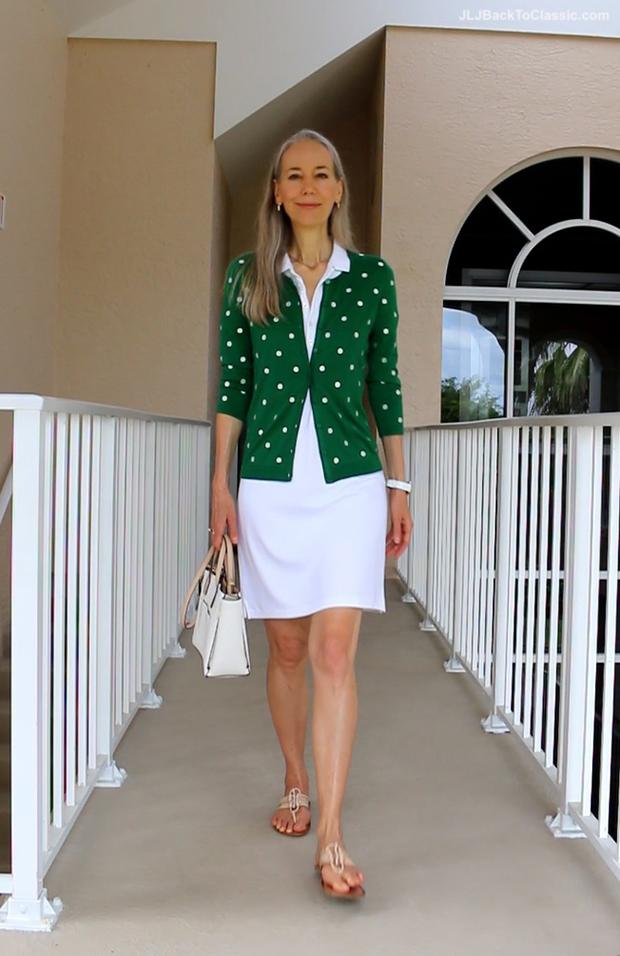 Janis-Lyn-Johnson-Fashion-Over-40-Talbots-Cardigan-Ralph-Lauren-Polo-Dress