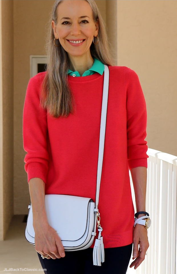 Preppy-Style-Over-40-50-Talbots-Coral-Sweater-Kate-Spade-Crossbody-Navy-Leggings
