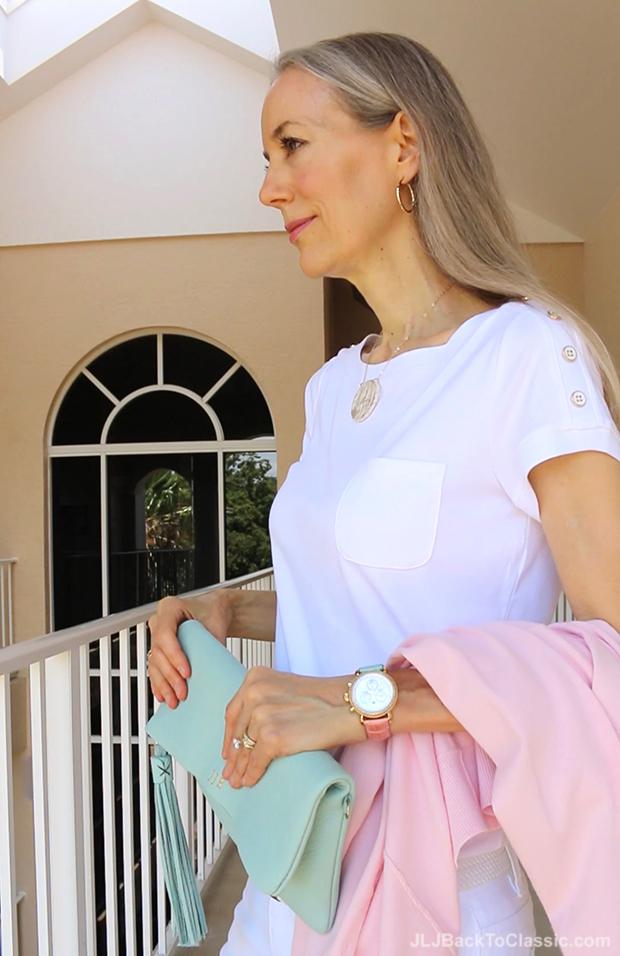 Classic-Fashion-Pink-Talbots-Cardigan-White-Shoulder-Button-Tee-Gigi-NY-Azure-Clutch