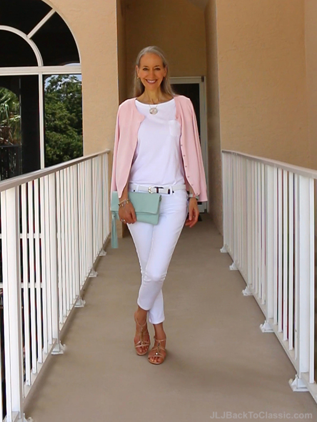 Classic-Fashion-Over-40-Pink-Talbots-Cardigan-White-Jeans-Gigi-NY-Azure-Clutch