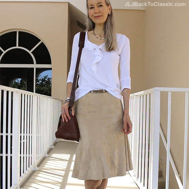 78e7ed84d0 (Video) Classic Fashion Over 40/How To Style a Faux-Suede Skirt For Summer:  With a Talbots White Ruffled Tee, Leather Huaraches, and a Vintage Ralph  Lauren ...