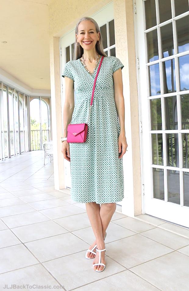 Classic-Fashion-Over-40-Boden-Empire-Waist-Dress-Kate-Spade-Bag