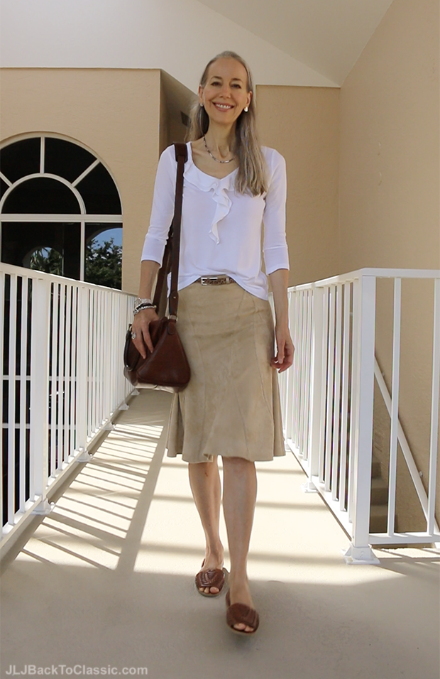 Classic-Fashion-Over-40-How To Style-Faux-Suede-Skirt-Janis-Lyn-Johnson