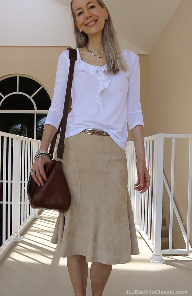 Classic-Fashion-Over-40-Over-50-Boho-Style-Talbots-White-Ruffle-Tee-Ralph-Lauren-Bag