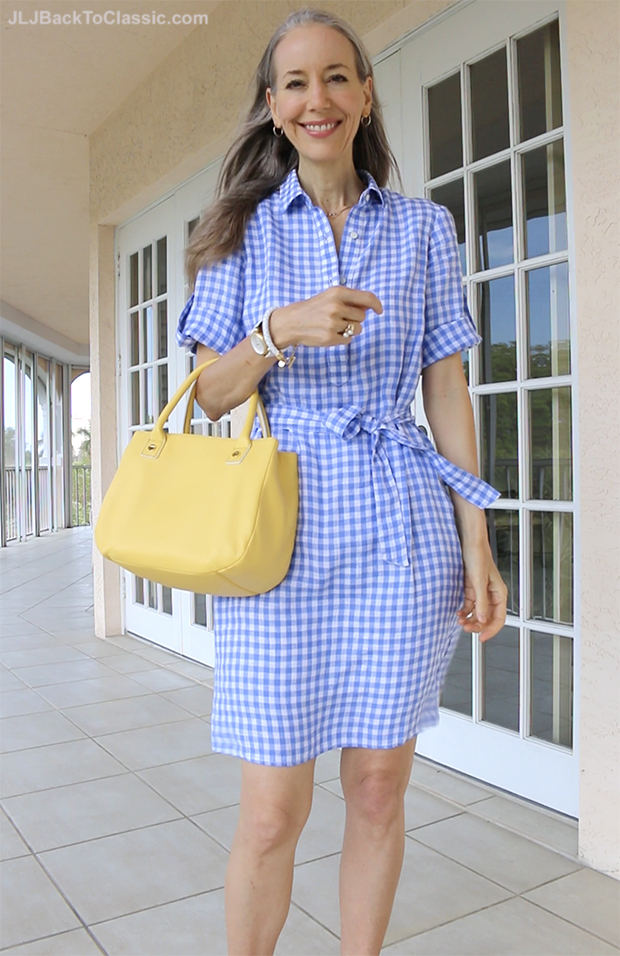 Classic-Fashion-Over-40-Over-50-J.McLaughlin-Blue-Gingham-Dress-Talbots-Top-Handle-Bag