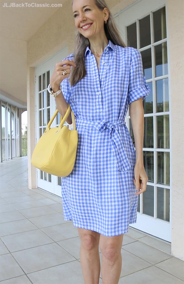 Classic-Fashion-Over-40-Over-50-J.McLaughlin-Gingham-Dress-Talbots-Bag-Janis-Lyn-Johnson