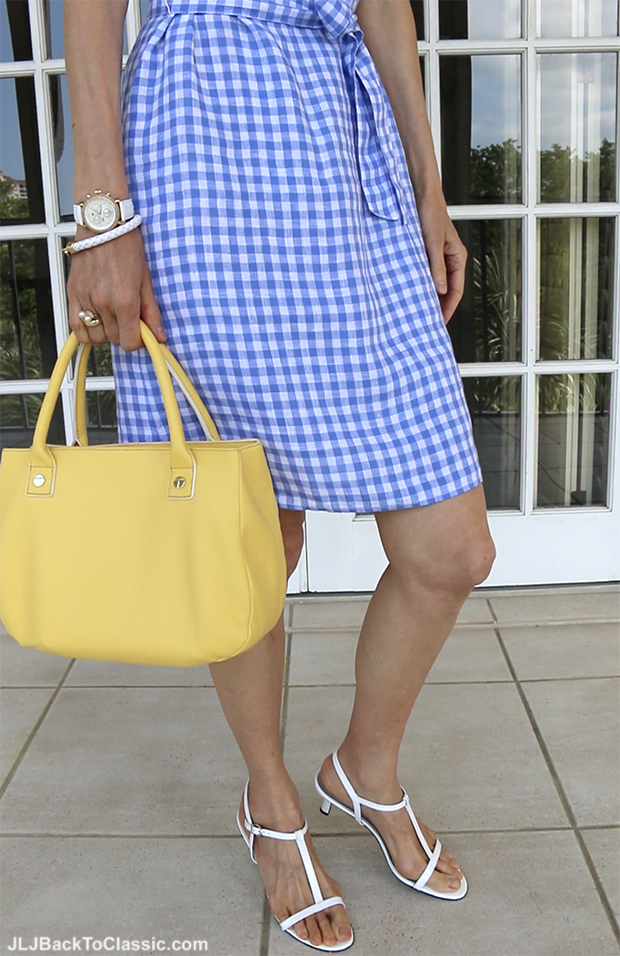 Classic-Fashion-Over-40-Over-50-J.McLaughlin-Gingham-Dress-Talbots-Top-Handle-Bag-Vaneli-Sandals