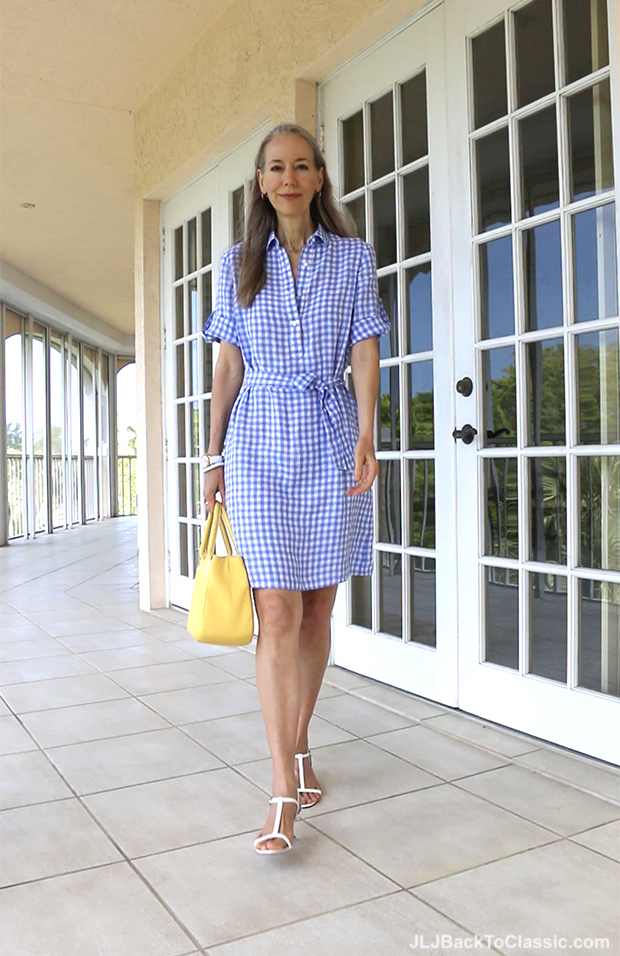 Classic-Fashion-Over-40-Over-50-J.McLaughlin-Gingham-Dress-Talbots--Yellow-Top-Handle-Bag