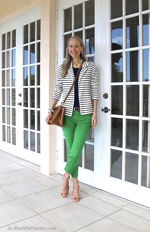 Classic-Fashion-Over-40-Over-Striped-Jacket-Skinny-Jeans-Prada-Bag-Janis-Lyn-Johnson