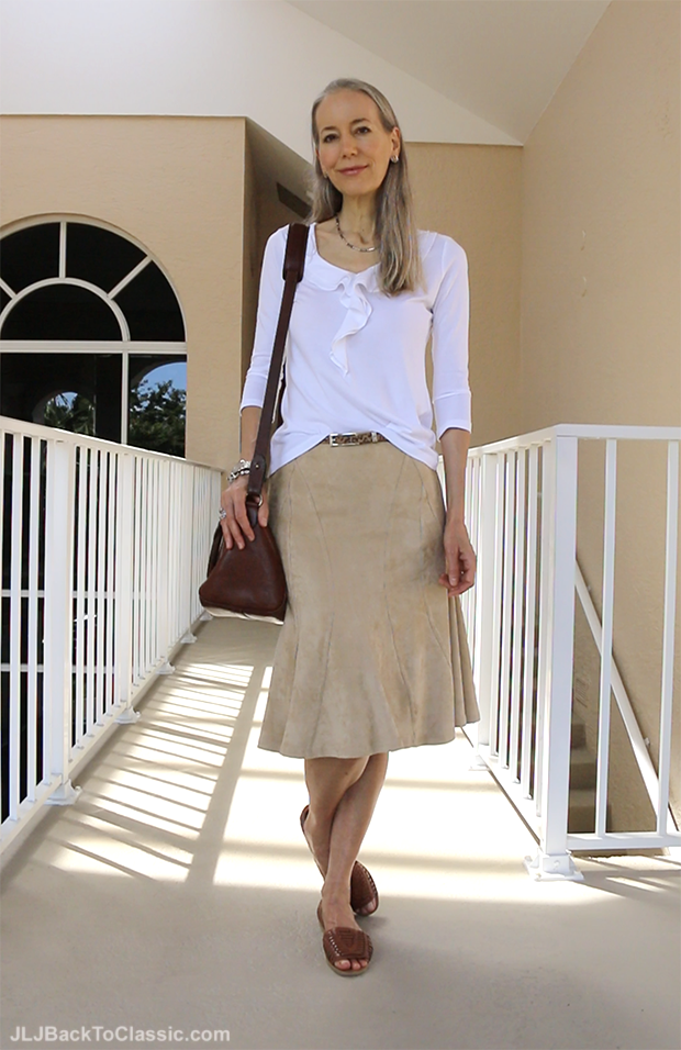 Classic-Fashion-Over-40-Over50-Boho-Style-Faux-Suede-Skirt-Talbots-Ruffle-Tee