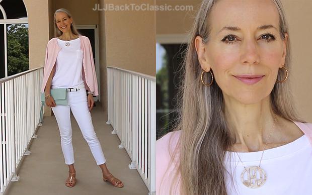 Classic-Fashion-Over-40-Pink-Talbots-Cardigan-White-Jeans-Gigi-NY-Azure-Clutch-Blog
