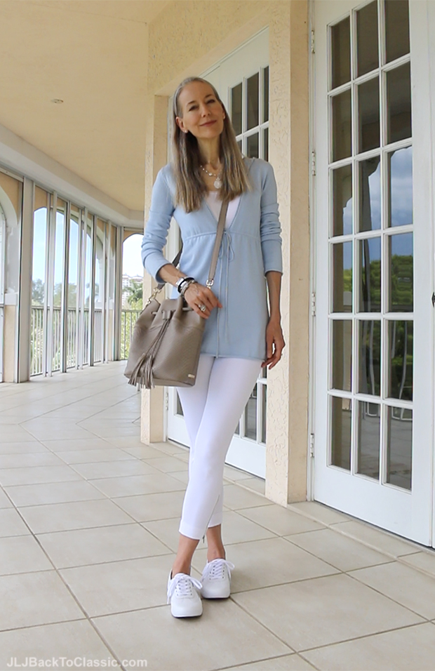 Classic-Fashion-Over-40-White-Leggins-Pastel-Blue-Sweater-White-Keds-Sneakers