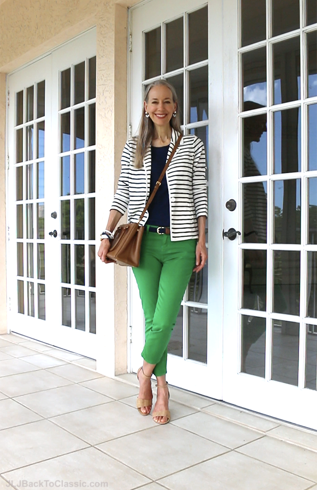 Janis-Lyn-Johnson-Classic-Fashion-Over-40-Over-50-Striped-Blazer-Skinny-Jeans-Prada-Bag