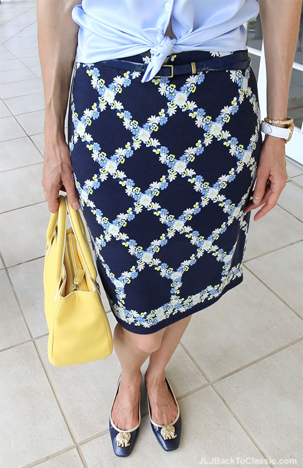 Classic-Fashion-Over-40-Talbots-Yellow-Top-Handle-Bag-Lilly-Pulitzer-Elephant-Embellished-Flats