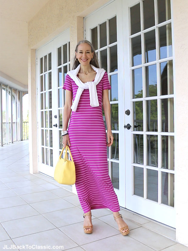 Classic-Fashion-Over-40-Magenta-Maxi-Dress-Yellow-Bag-Lucky-Brand-Cork-Platform-Sandals