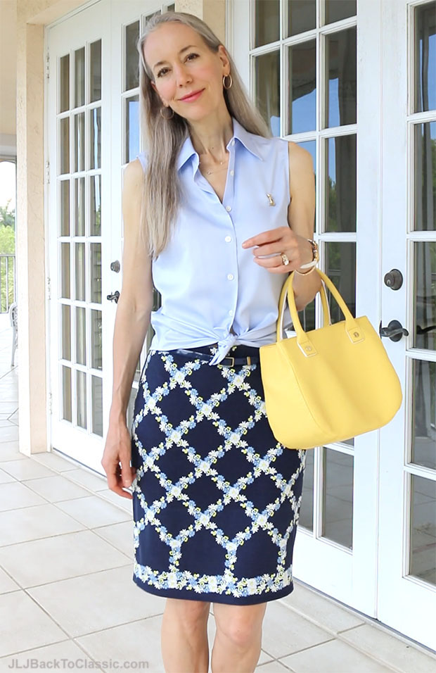 Classic-Fashion-Over-40-Pairing-Blue-With-Yellow-Slim-Skirt-Button-Up-Shirt-Top-Handle-Bag