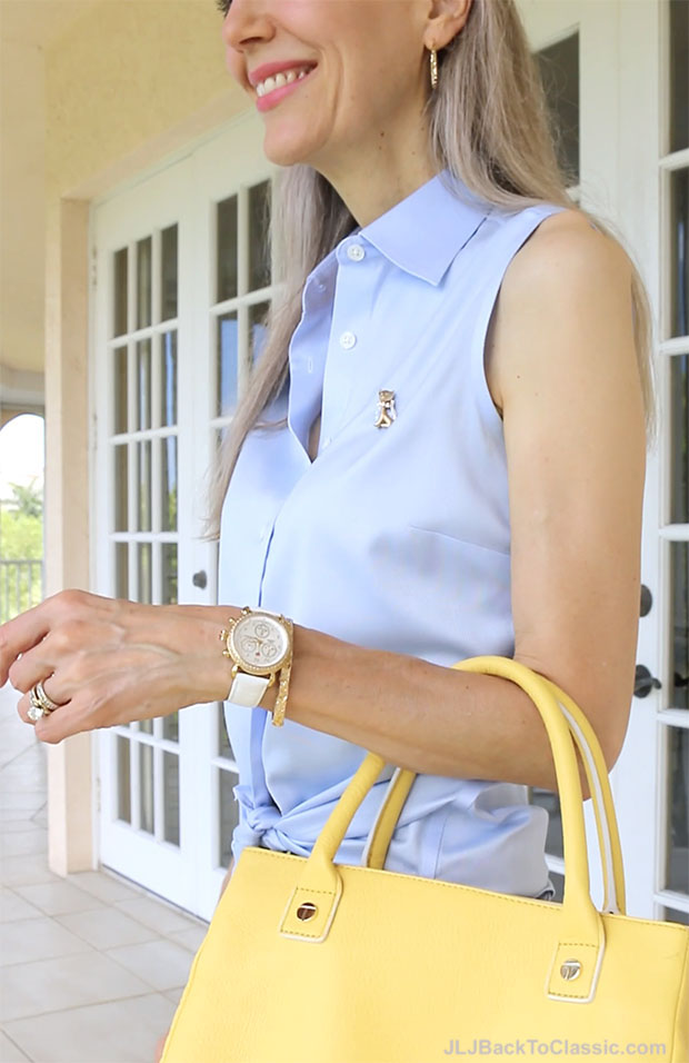 Classic-Fashion-Over-40-Michele-CSX-Watch-Talbots-Yellow-Top-Handle-Bag