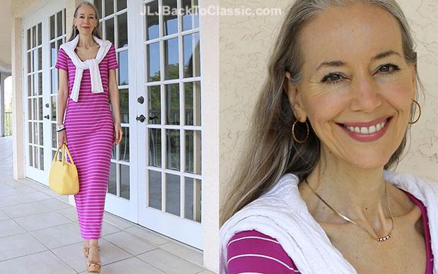 Classic-Beauty-Fashion-Over-40-Magenta-Maxi-T-Shirt-Dress-Yellow-Bag